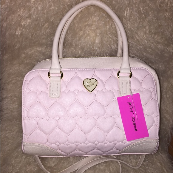 f38759a6be Baby pink heart quilt Betsey Johnson Satchel purse